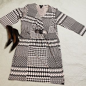 Black and white faux wrap dress